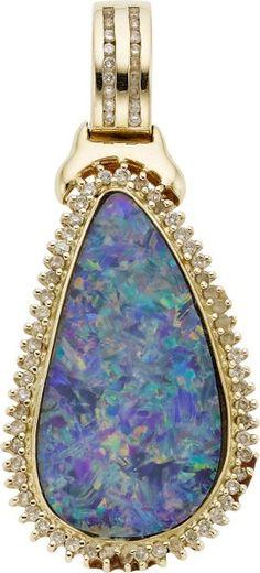 Boulder Opal, Diamond, Gold Enhancer-Pendant