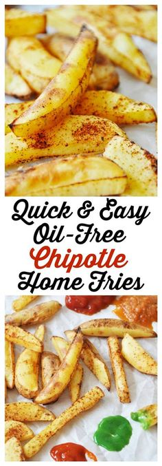 These golden brown, crispy, and spicy home fries are made without oil! And they're delicious.