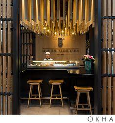 OKHA Interiors Contemporary Bar, Modern Bar, Bistro Interior, Interior Decorating, Interior Design, Restaurant Design, Interior Architecture, Bar Stools, House Design