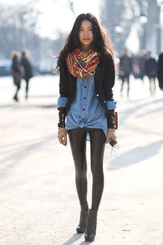 Must-have; Denim button-up and leather leggings... Very 80s!!