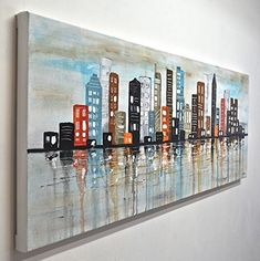 Large abstract painting cityscape original art colorful modern abstract urban oil painting 20 x 60 panoramic by L. Texture Painting On Canvas, Large Painting, Painting Frames, Canvas Art, City Painting, Art Original, Your Paintings, Watercolor Art, Modern Art