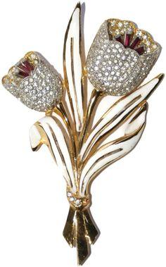 Coro Floral Enamel Rhinestone Double Tulip Trembler Pin Brooch 1930's