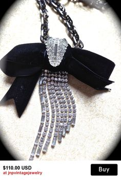 Black tie Classically  inspired vintage bow necklace