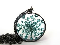 Pretty Turqoise Queen Annes Lace  Pendant - Real pressed flower encased in resin with open back copper pipe bezel, Pressed Flower Jewelry