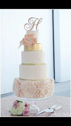 5 tier glitter flower wedding cake