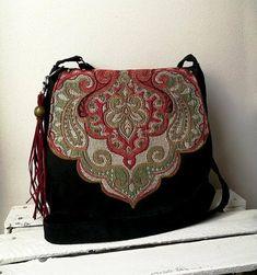 Black oriental bag Black merssenger bag Boho chic bag Oriental