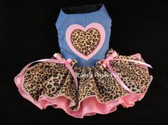 Dog Dress _ Pink & Leopard Hearts Dog Dress _ Dog by KimsPoshPets
