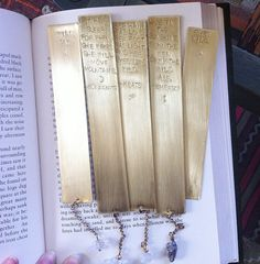 Spark & Thistle, MONUMENT - Bookmark Custom Rustic Brass Quote with Crystal. Monument Collection, Limited Edition.