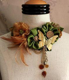 INDIAN SUMMER Statement Bib Necklace Neckpiece by carlafoxdesign, $225.00