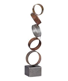 This Copper, Silver & Gold Heavy Metal Ring Décor is perfect! #zulilyfinds