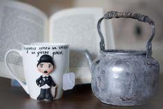 """Tazza Mug """"Charlie Chaplin"""" in ceramica con decorazioni realizzate a mano di telasimona su Etsy"""