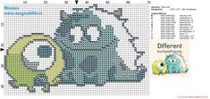 Baby Mike and Sully (Monster & Co.) cross stitch pattern