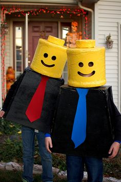Lego Costume I bet they used 5 gallon water bottles.