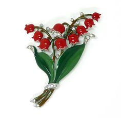 Vintage Trifari Red Lily of the Valley Flower by thejewelseeker