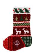 "Winter Bands Latch Hook Stocking. Finished size 12x17"". Kit comes with easy-to-follow full color chart, 5-mesh canvas, 3 ply pre-cut acrylic rug yarn and complete instructions. Backing fabric, finishing supplies,"