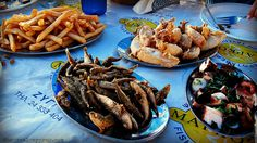 Zygi fish meze table Cyprus Food, Thriller, Greek, Fish, Dining, Healthy, Table, Kitchens, Stone
