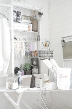 Laundry Room Inspiration, white shabby laundry room, Today's pic are in honor of my Washer & Dryer arriving yesterday! I spent two weeks with out a washer. White Laundry Rooms, Decoration Shabby, Laundry Room Inspiration, Vintage Laundry, Paris Chic, White Decor, Vintage Shabby Chic, Sweet Home, House Ideas