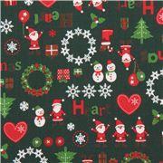 tessuto natalizio verde ghirlande cuori decorazioni dal Giappone