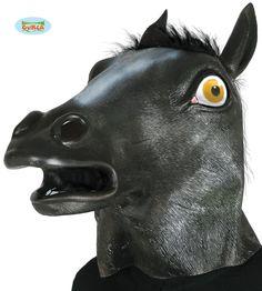 Musta+hevosmaski Horse Mask, Latex, Lion Sculpture, Horses, Statue, Animals, Black, Products, Animales