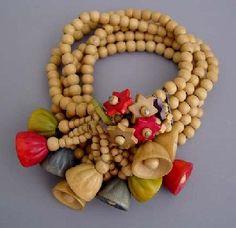 Haskell Hess wooden beads, stars, bells bracelet, 1940