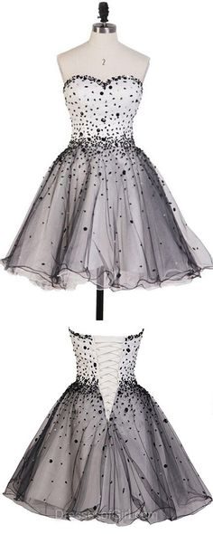 Short Homecoming Dresses, Beading Prom Dresses, Sweetheart Cocktail Dress, Cute Graduation Gowns, Modest Party Dress