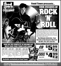Vintage Toledo TV - Other Vintage Print Ads - Four Decades of Rock 'n' Roll at Food Town (Tue 3/18/97 ad)
