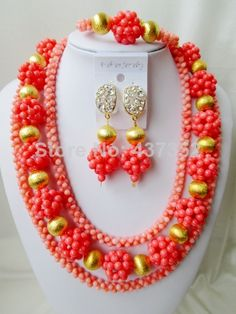 Charming Nigerian Bead Necklaces Wedding Coral Beads Jewelry Set African Beads Jewelry Set CWS1028 $98.98