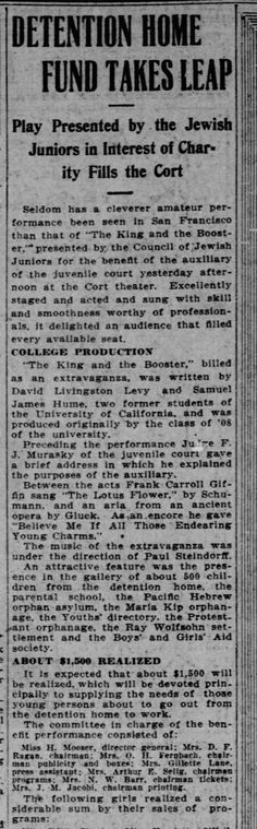 "Found in The San Francisco Call in San Francisco, California on Tue, Feb 13, 1912. Rose (Mrs. Gillette Lane, press assistant), volunteer for the ""Jewish Juniors"" 2.13.1912"