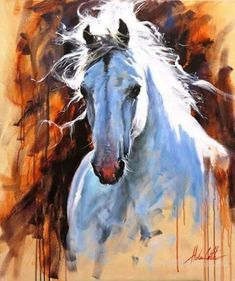 A Lovely Horse Painting - Kunst - Horse Drawings, Animal Drawings, Art Drawings, Horse Artwork, Watercolor Horse, Watercolour, Animal Paintings, Horse Paintings, Pastel Paintings