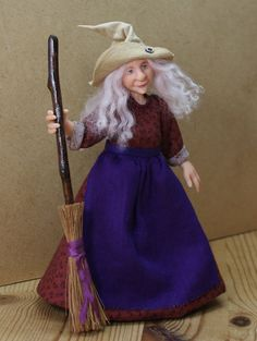 Tabitha the Witch, hand sculpted miniature dollhouse doll in 1/12th (one inch)…