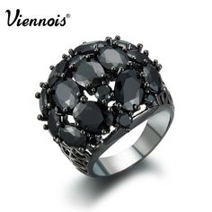 delatcha Jewelry Summer Fashion Jewelry Gun Plated Alloy Woman Ring with Zircon for Ladies Luxury Brand Black Rings. High Quality Product. High Polished / Fine Workmanship. Never Fade / Scratchproof and Anti - Allergy. Pack with Beautiful Bag as a Gift. Size info is estimate, if concern, Please leave me message.