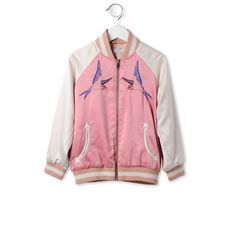 Soft bomber jacket in sorbet tone featuring an embroidered bird design on the front and back, inspired by the mainline collection.<br> With front zip fastening and contrasting elasticated ribbed collar and trims.  - STELLA MCCARTNEY KIDS