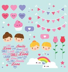 Valentines Clipart commercial use cute Love by ColorPlanet on Etsy