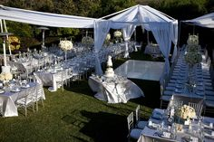 Open frame tent, draping, white dance floor, banquet tables, linens, china, glassware,