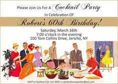 Birthday Invitation  Cocktail Party by glamoroussweetevent on Etsy, $15.00