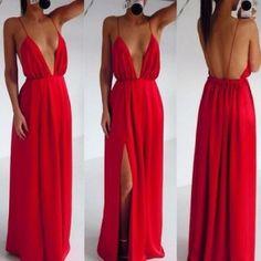 Red Plain Condole Belt Plunging Neckline Dress