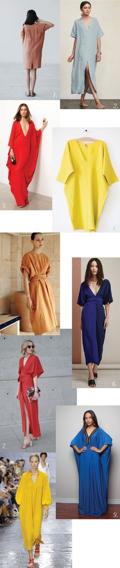 Chic & dramatic caftans in bold colours https://closetcasepatterns.com/the-charlie-caftan-pattern-inspiration-styling/
