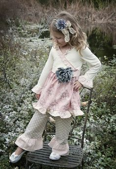 Shabby Chic Pink & Grey Flower Tunic & Ruffle Pant Set 5 to 6 Years Matching Shoe & Sash Available Too!