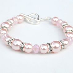 Pale Pink Pearl Bracelet Gift for Wife Mothers Day Jewelry Love Token Pink Pearl Wedding Jewelry Pink Bridesmaid Jewelry Romantic Gift Pearl Jewelry, Wedding Jewelry, Diy Jewelry, Beaded Jewelry, Pearl Necklaces, Jewelry Necklaces, Fashion Jewelry, Fashion Fashion, Fashion Outfits