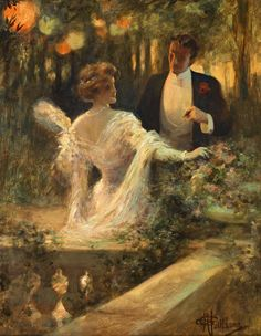 """""""Couple au jardin """" by Albert Guillaume (French, 1873-1942)"""