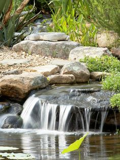 Enjoy Ambiance Water cascading off the surface of a rock or over a small waterfall creates the babble of trickling water. The Treadaways discovered that letting the water fall over different surfaces and at varying heights created subtle differences in sound.