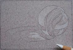 Using a sharp 2B pencil or mechanical pencil, trace the  outline of the marble.  You need to trace  the outline, and all of the details such as different colors, highlights and  shadows.  Look at my tracing below to see  how much detail I traced: