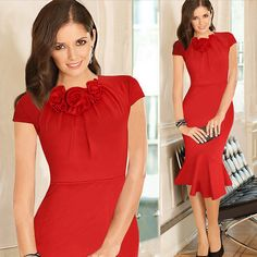 >> Click to Buy << 2016 Autumn Elegant Women Red  Dress  Fishtail Doll Collar Party Dress Best Friend Gift #Affiliate