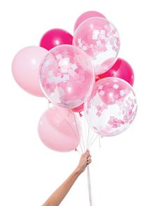"""Confetti without the mess of confetti? Sign me up! Our Pink Party Balloons are the perfect addition to your party. - 12 Latex Balloons (9 Solid & 3 Pre-Filled Confetti Balloons) - 11"""" Diameter - Heliu"""