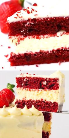 Red Velvet Cheesecake Cake Recipe – beautiful, fun to make and delicious! Perfect for any celebration. Two layers of moist red velvet cake with luscious cheesecake layer in between.This beautiful rich red velvet cheesecake cake combines. Mini Cakes, Cupcake Cakes, Cupcake Ideas, Easy Cake Recipes, Dessert Recipes, Recipes Dinner, Healthy Recipes, Red Velvet Cheesecake Cake, Oreo Cheesecake
