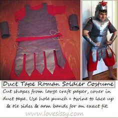 duct tape roman soldier costume. this method could work for the roman horse costume as well.