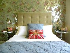 Bedroom Photos Wallpaper Design Ideas, Pictures, Remodel, and Decor - page 29 Anna French wallpaper Anna French Wallpaper, Union Jack Pillow, Patio Plans, Feminine Bedroom, French Bed, Dreams Beds, Bedroom Photos, Designer Wallpaper, White Walls