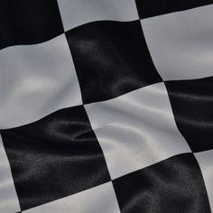 Black & White Race Check Lamour Napkins  www.KateRyanLinens.com  Wedding & Event Table Linen Rentals