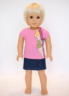 American Girl doll upcycled Tinkerbell t shirt - pink on Etsy, $9.00
