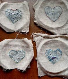 indigo stitched valentines